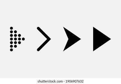 Set of new style black arrows icon isolated on white background.Eps 10