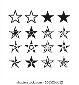Set of new style black vector star isolated on white. Star vector icon. Star vector illustration collection