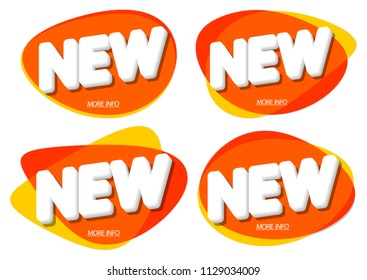 Set New tags, bubble banner design template, app icon, vector illustration