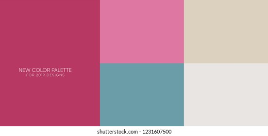 set of new trendy flat pantone color palette guide in 2019.  for any project designs - web and graphic designs, mobile application, background 12