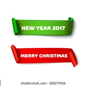 Set of New year 2017 and Xmas red and green realistic curved paper roll ribbon banner isolated on white background. Detailed Merry christmas and HNY paper ribbon for web advertising, promo, sale.