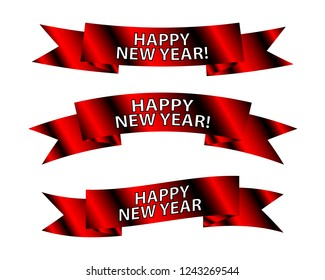 set of new year banner ribbons on the isolated background