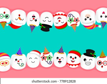 Set of New year celebration tooth characters. Emoticons facial expressions. Funny dental care concept. Illustration isolated on green background.