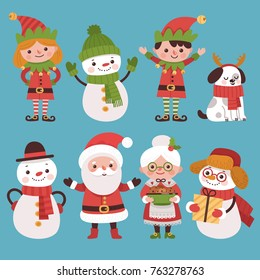 A set of New Year characters Santa Claus and his friends