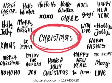 Set of New Year and Christmas phrases and words. Collection of hand drawn lettering. Vector illustration