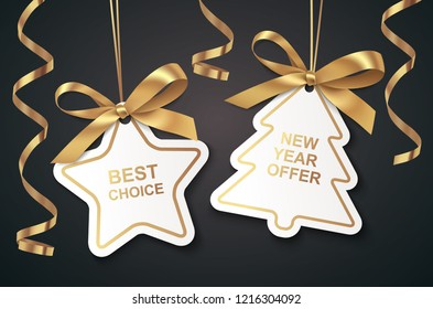 Set of New Year or Christmas Sale tags with golden ribbon and bow on black background. Vector illustration. Winter holiday decoration