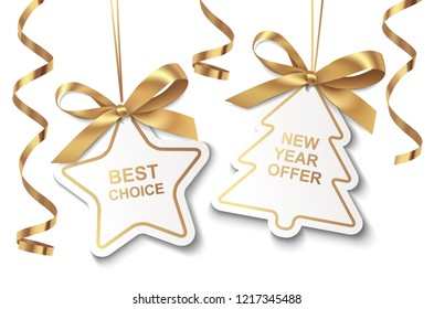 Set of New Year or Christmas Sale tags with golden ribbon and bow isolated on white background. Vector illustration. Holiday decoration
