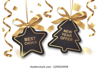 Set of New Year or Christmas Sale black tags with golden ribbon and bow on white background. Vector illustration. Holiday decoration