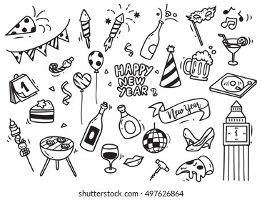 Set of New Year doodle