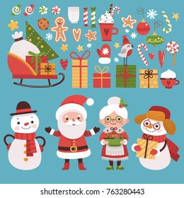 Set of New Year elements. Santa Claus and his friends, gifts, snowflakes, candy.