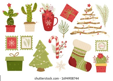 Set new year illustration. Alternative christmas tree. Cactus and branches.