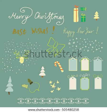 There are included 3 congratulation text, 6 frames, 6 ribbons, 2 types of snowflakes,5 stars, 3 types of X-mas trees, and 7 items. - Vector