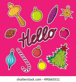 Set New Year patches elements: Hello, Christmas decorations, balls, fir-tree, star, lollipop, cone.  Vector illustration isolated on red background. Stickers kit.