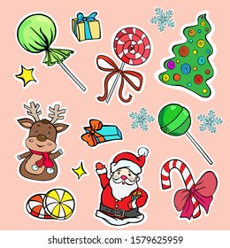 set of new year santa claus deer gifts gifts lollipops vector colored stickers