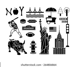 Set of New York icons. Statue liberty and manhattan, bridge and brooklyn, urban and skyscraper. Vector illustration