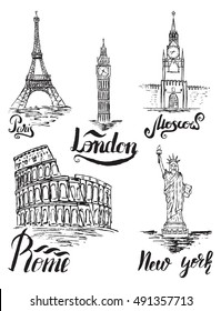 Set of New york, Moscow, Paris, Rome, London labels, lettering by a brush pen