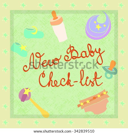 set newly born baby items checklist stock vector royalty free