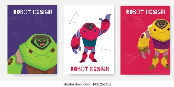 Set Next Generation Robot Card Design Cartoon Vector. Ease Use and Functionality Next Generation Cyborg. Illustration Impressive Size Artificial Intelligence Expresses Goodwill and Smiles.