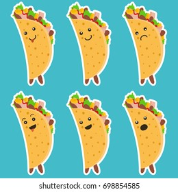 Set of nice emotional taco characters with white outlines on blue background. Cute laugh and sad tacos character for mexican food advertisement