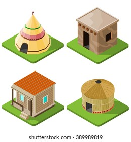 Set of nice looking bright isometric tribal native houses, huts and tents. Vector illustration.
