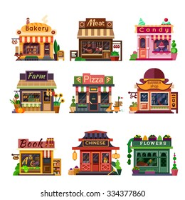 Set of nice shops. Different Showcases: bakery, meat shop, candy store, farm products,  pizza cafe, coffee, barbershop, bookstore, chinese shop, flower shop. Flat vector illustration stock set.