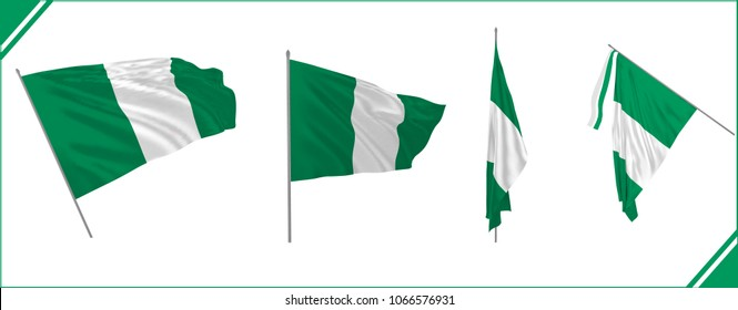 Set of Nigeria state waving flags in solemn or proud style. Vector illustration. Clothes effect.