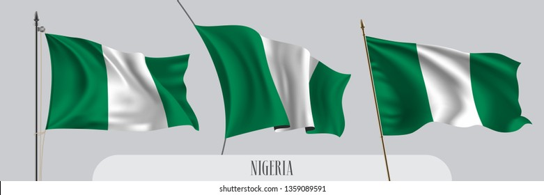 Set of Nigeria waving flag on isolated background vector illustration. 3 green white Nigerian wavy realistic flag as a patriotic symbol