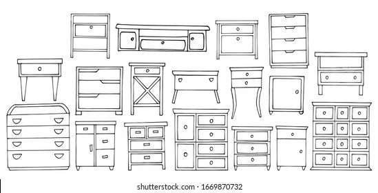 set of nightstands and dressers. Sketch stile. A linear pattern. Black and white doodles Isolated on a white background. Vector collection of modern furniture for bedroom, study, living room.