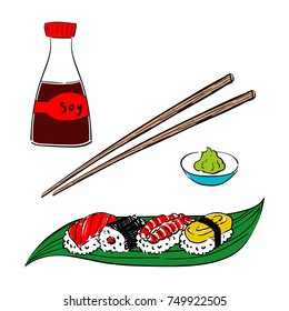 Set of Nigiri Sushi with Salmon, Shrimp and Tamago Egg Omelet and Sushi Roll on Green Bamboo Leaf Vector Illustration Isolated on White Background. Soy Sauce Bottle, Chopsticks and Wasabi on Plate
