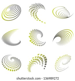 Set of nine abstract wave icons and geometric shapes in grey and green shades. Can be used for party, business, technology, sports, motion, promotion, etc.