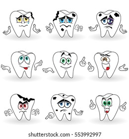 Set of nine amusing cartoon teeth with various face grimaces and with hand gesticulating, color vector illustrations