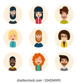 Set of nine avatar vector icons. Geometric people. Flat style