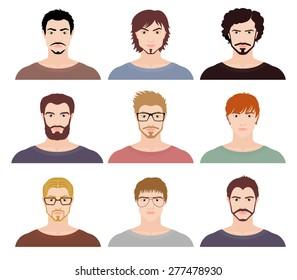 Set of nine avatars of fashion men. Vector illustration