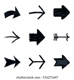 Set of nine black arrow sign painted by painting brushstroke. Ink sketch drawing created in handmade technique