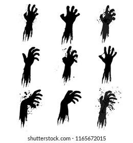 Set of nine black grunge zombie hands isolated on white background