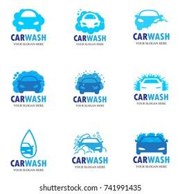set of nine car wash icons