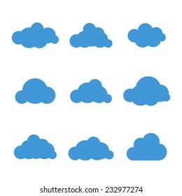 Set of nine cloud icons vector illustration