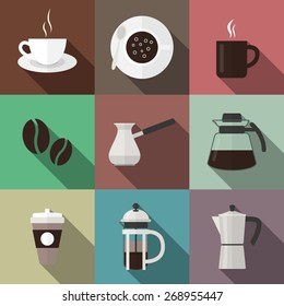 Set of nine coffee icons in flat style. Vector EPS10 illustration.