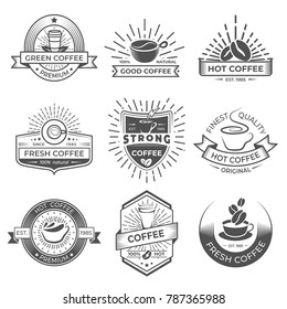Set of nine coffee logo templates. Coffee labels with sample text. Mugs, beans and coffee equipment icons for coffee shop logos, badges and elements design