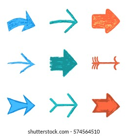 Set of nine color arrow sign painted by painting brushstroke. Ink sketch drawing created in handmade technique. Quick and easy recolor graphic element in technique vector illustration