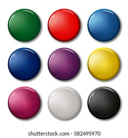 Set of nine colored pin magnets (badges), including black and white. Office equipment. 3d bright plastic circles. Collection of round buttons. Realistic vector illustration.