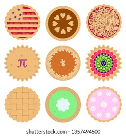 Set of nine colorful, decorative pie vector icons of various flavors