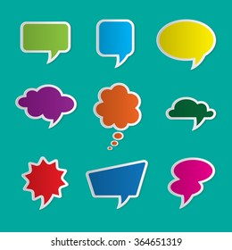 Set of nine colorful dialog boxes on blue background - 3d paper art style