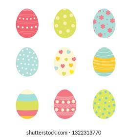 Set of nine colorful easter eggs. Vector illustration
