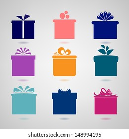 Set of nine colorful icons of gift boxes on light background. Vector version.