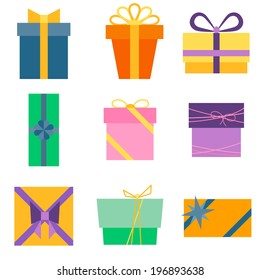Set of nine colorful icons of gift boxes. Vector illustration