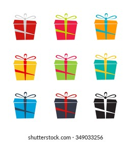 Set of nine colorful icons of gift boxes on white background, Vector set of different gift boxes.