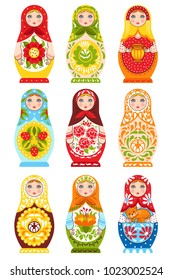 Set of nine colorful nesting dolls painting in traditional handmade russian ornament isolated vector illustration