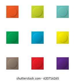 Set of nine constructor simple elements different colors