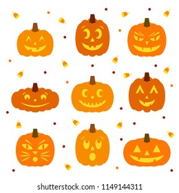 Set of nine cute cartoon jack-o-lanterns with scattered candy corn and polka dots